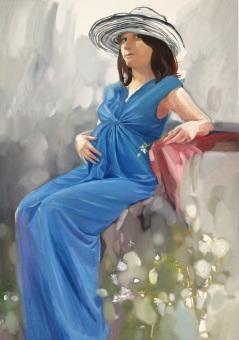 Portret w niebieskiej sukni